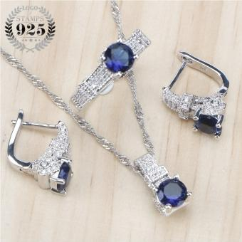 925 Sterling Silver Bridal Blue Zirconia Stone Earrings Jewelry Set
