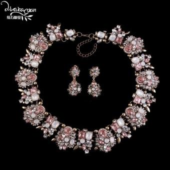 Pink Crystal Flower Statement Jewelry Set
